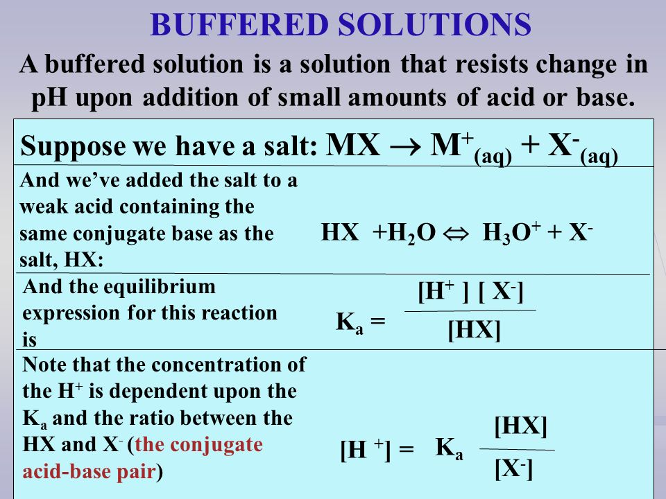 [H + ] = [HX] [X - ] KaKa BUFFERED SOLUTIONS A buffered solution is a solution that resists change in pH upon addition of small amounts of acid or bas