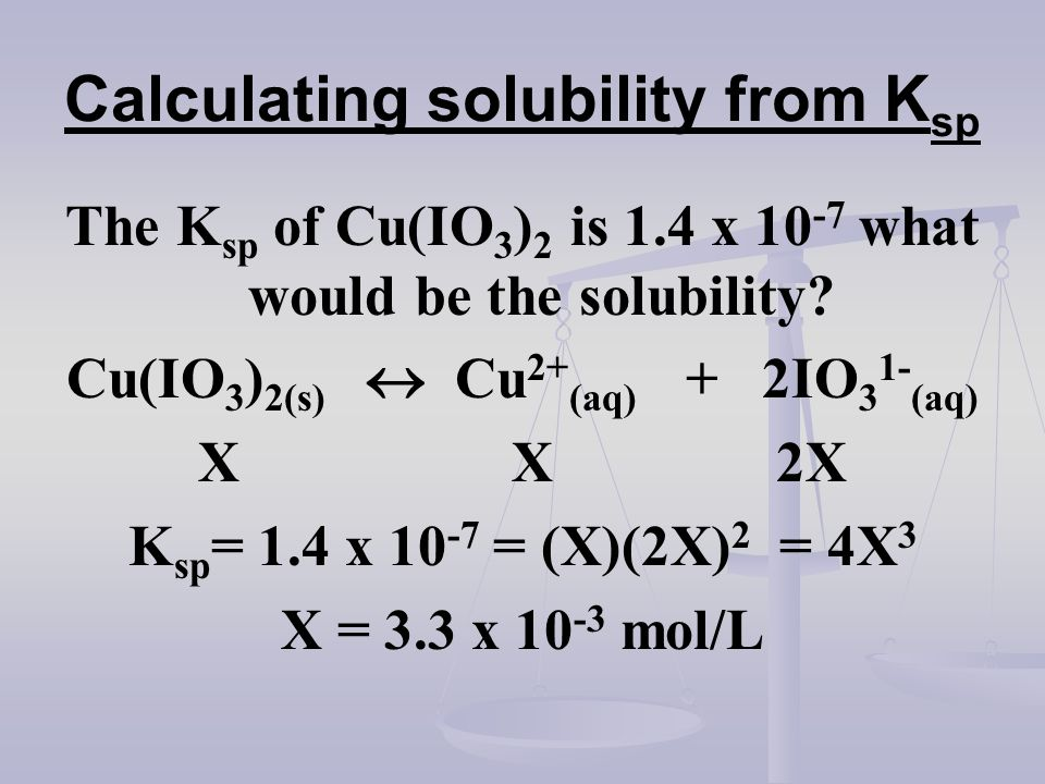 Calculating solubility from K sp The K sp of Cu(IO 3 ) 2 is 1.4 x 10 -7 what would be the solubility? Cu(IO 3 ) 2(s) Cu 2+ (aq) + 2IO 3 1- (aq) X X 2X