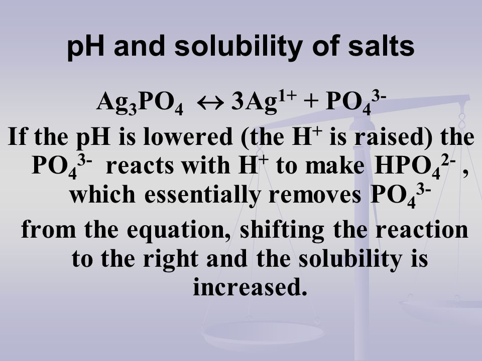 pH and solubility of salts Ag 3 PO 4 3Ag 1+ + PO 4 3- If the pH is lowered (the H + is raised) the PO 4 3- reacts with H + to make HPO 4 2-, which ess