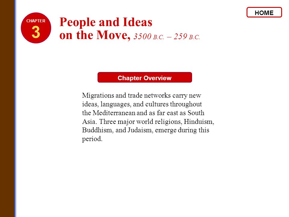 HOME Chapter Overview Migrations and trade networks carry new ideas, languages, and cultures throughout the Mediterranean and as far east as South Asi