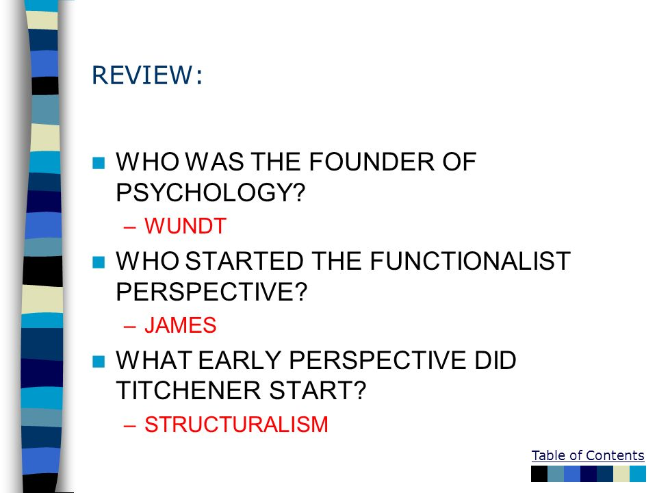 REVIEW: WHO WAS THE FOUNDER OF PSYCHOLOGY? –WUNDT WHO STARTED THE FUNCTIONALIST PERSPECTIVE? –JAMES WHAT EARLY PERSPECTIVE DID TITCHENER START? –STRUC