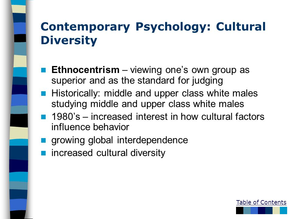 Table of Contents Contemporary Psychology: Cultural Diversity Ethnocentrism – viewing ones own group as superior and as the standard for judging Histo