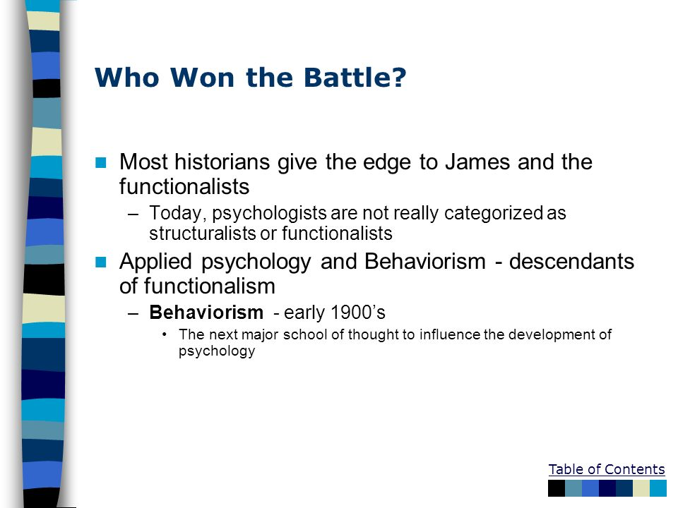 Who Won the Battle? Most historians give the edge to James and the functionalists –Today, psychologists are not really categorized as structuralists o