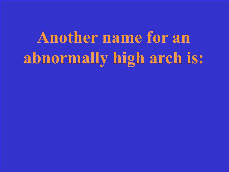 Another name for an abnormally high arch is:
