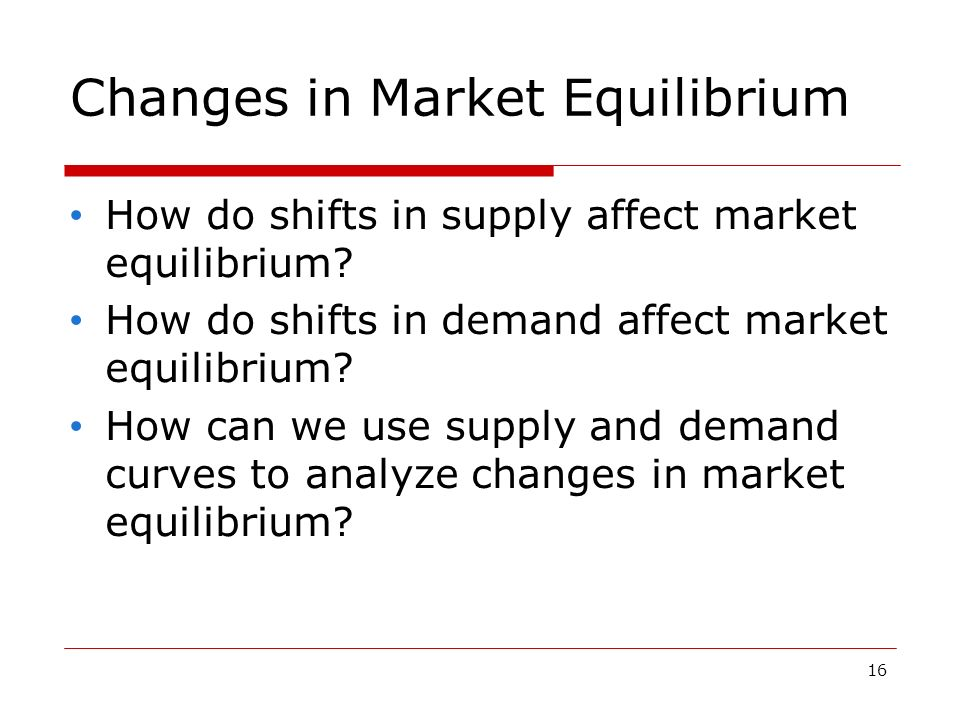 16 Changes in Market Equilibrium How do shifts in supply affect market equilibrium.