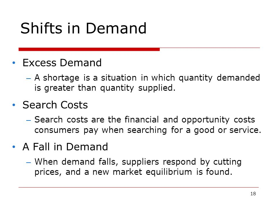 18 Shifts in Demand Excess Demand – A shortage is a situation in which quantity demanded is greater than quantity supplied.