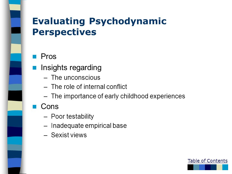Evaluating Psychodynamic Perspectives Pros Insights regarding –The unconscious –The role of internal conflict –The importance of early childhood exper