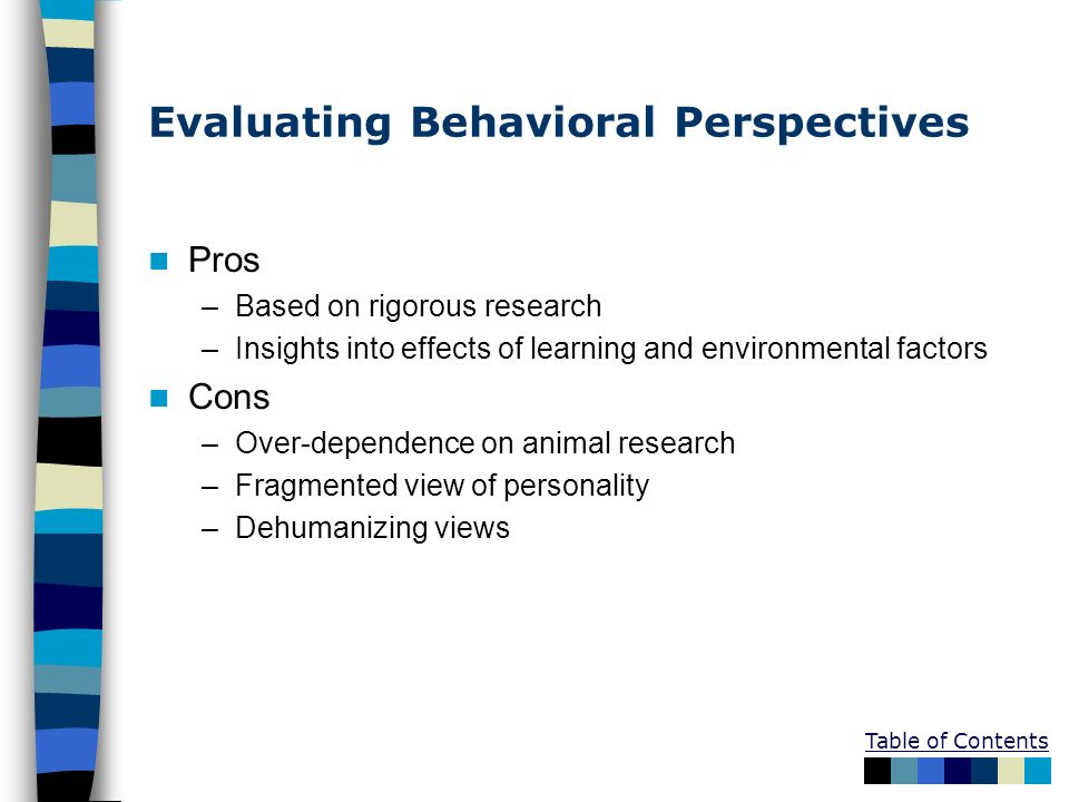 Evaluating Behavioral Perspectives Pros –Based on rigorous research –Insights into effects of learning and environmental factors Cons –Over-dependence