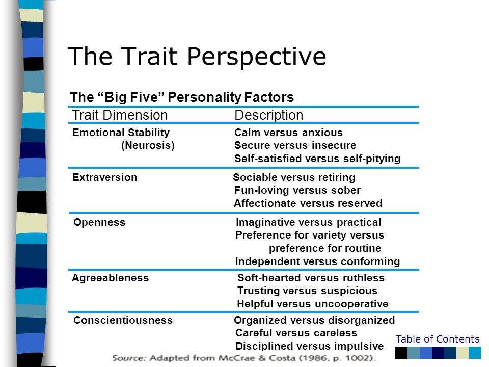 Table of Contents The Trait Perspective The Big Five Personality Factors Trait Dimension Description Emotional Stability Calm versus anxious (Neurosis