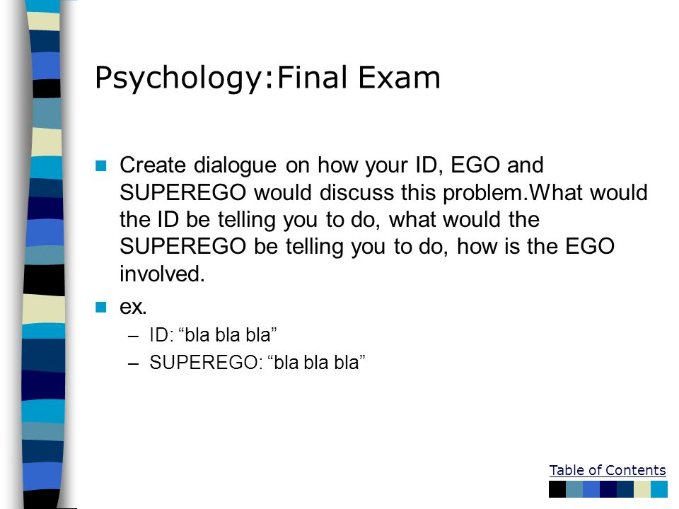 Table of Contents Psychology:Final Exam Create dialogue on how your ID, EGO and SUPEREGO would discuss this problem.What would the ID be telling you t