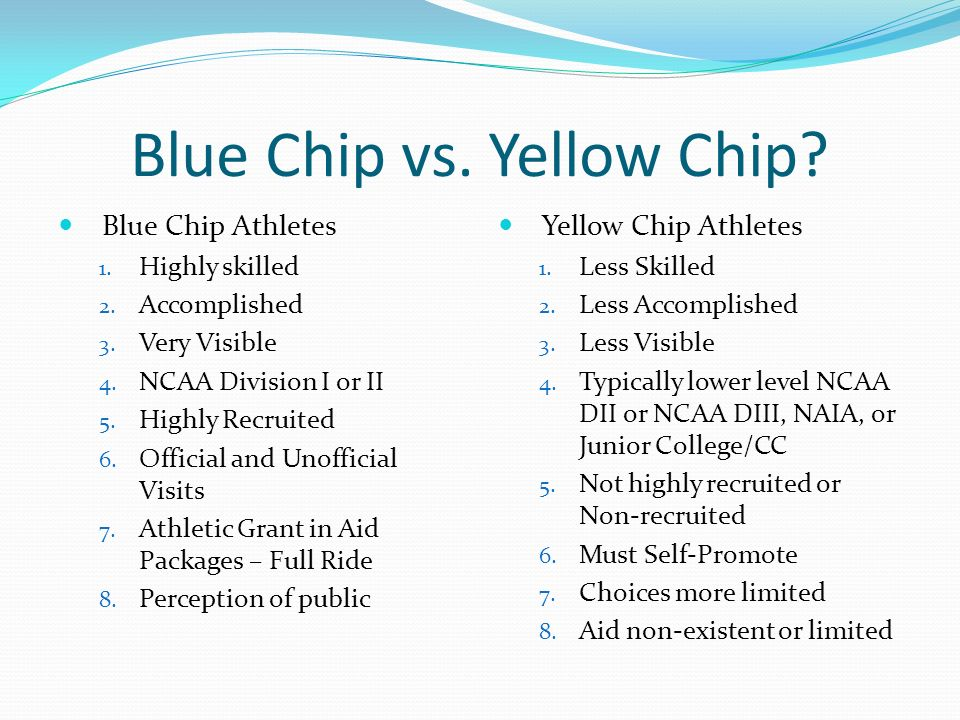 Blue Chip vs. Yellow Chip. Blue Chip Athletes 1.