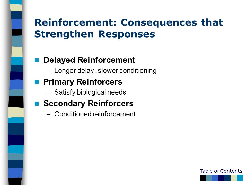 Reinforcement: Consequences that Strengthen Responses Delayed Reinforcement –Longer delay, slower conditioning Primary Reinforcers –Satisfy biological