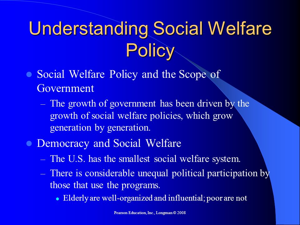 Pearson Education, Inc., Longman © 2008 Summary Social welfare policies include entitlement and means-tested programs.