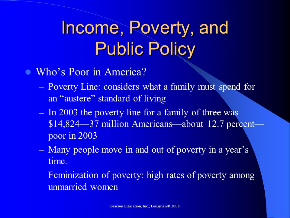 Pearson Education, Inc., Longman © 2008 Income, Poverty, and Public Policy