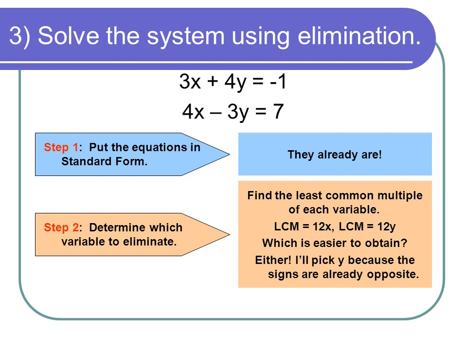 3) Solve the system using elimination. 3x + 4y = -1 4x – 3y = 7 Step 1: Put the equations in Standard Form. They already are! Step 2: Determine which