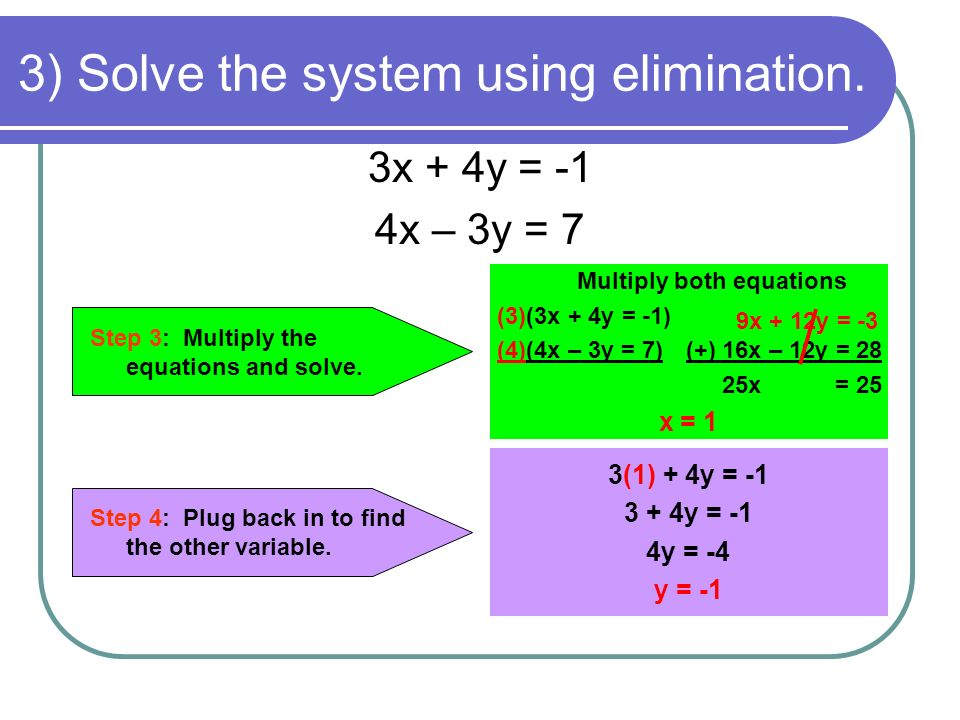 3) Solve the system using elimination. 3x + 4y = -1 4x – 3y = 7 Step 4: Plug back in to find the other variable. 3(1) + 4y = -1 3 + 4y = -1 4y = -4 y