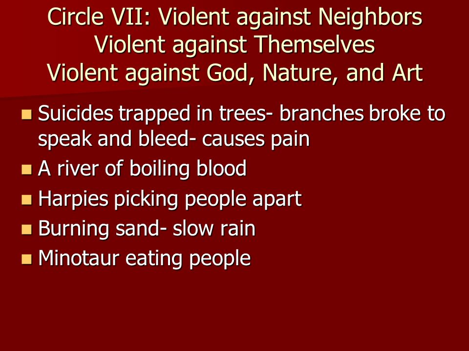 Circle VII: Violent against Neighbors Violent against Themselves Violent against God, Nature, and Art Suicides trapped in trees- branches broke to spe