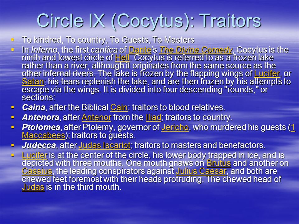 Circle IX (Cocytus): Traitors To kindred, To country, To Guests, To Masters To kindred, To country, To Guests, To Masters In Inferno, the first cantic
