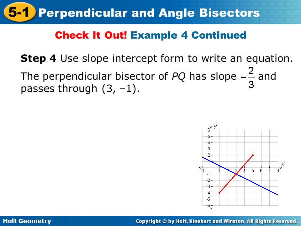 Holt Geometry 5-1 Perpendicular and Angle Bisectors Check It Out! Example 4 Continued Step 4 Use slope intercept form to write an equation. The perpen