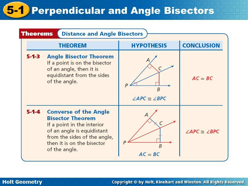 Holt Geometry 5-1 Perpendicular and Angle Bisectors Check It Out.
