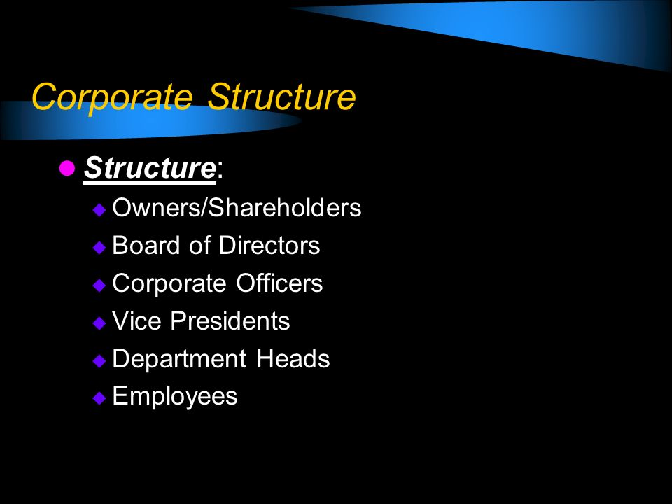Corporate Structure Structure: Owners/Shareholders Board of Directors Corporate Officers Vice Presidents Department Heads Employees