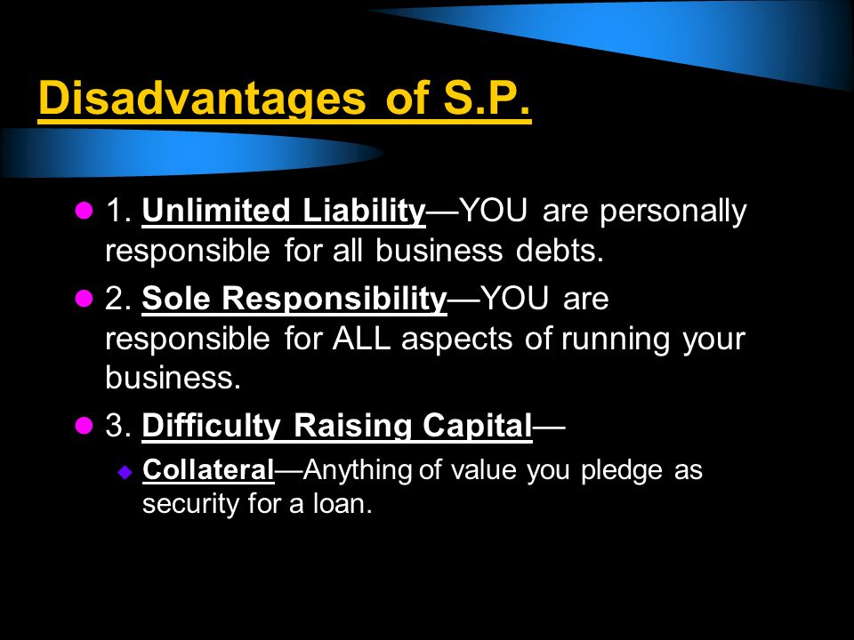 Disadvantages of SP 4.