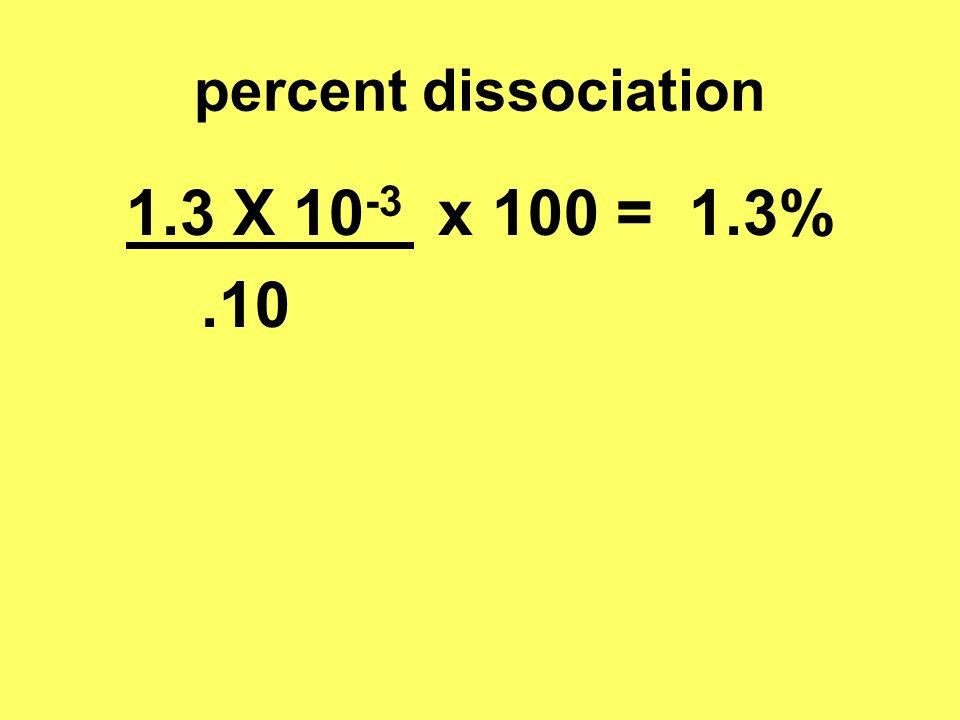 percent dissociation 1.3 X 10 -3 x 100 = 1.3%.10