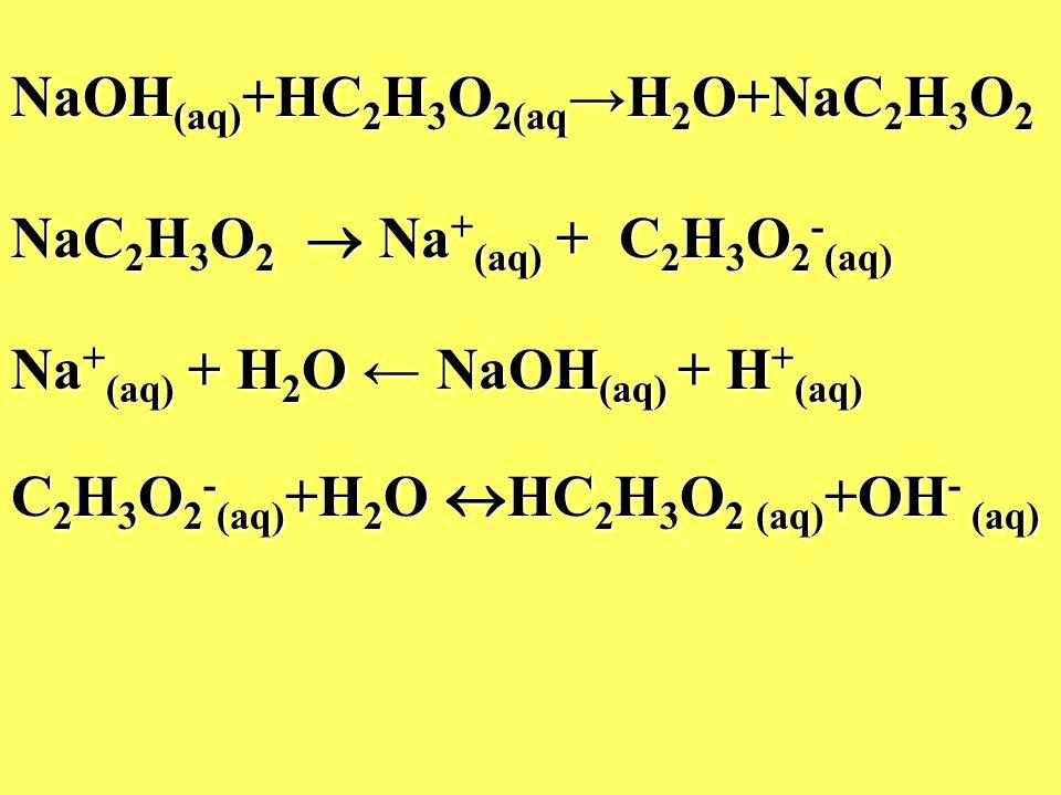 NaOH (aq) +HC 2 H 3 O 2(aq H 2 O+NaC 2 H 3 O 2 NaC 2 H 3 O 2 Na + (aq) + C 2 H 3 O 2 - (aq) Na + (aq) + H 2 O NaOH (aq) + H + (aq) C 2 H 3 O 2 - (aq)