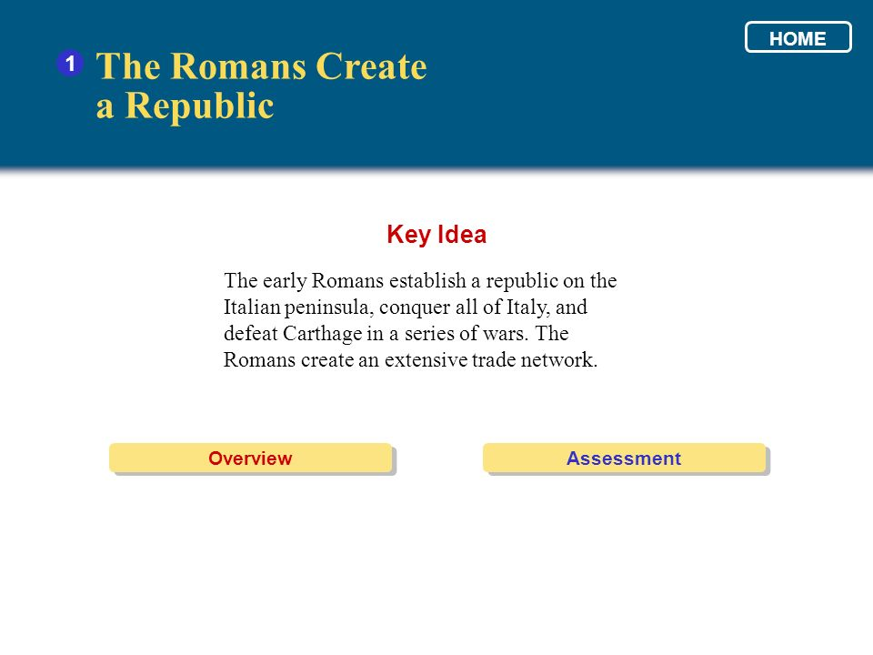 The early Romans establish a republic on the Italian peninsula, conquer all of Italy, and defeat Carthage in a series of wars. The Romans create an ex
