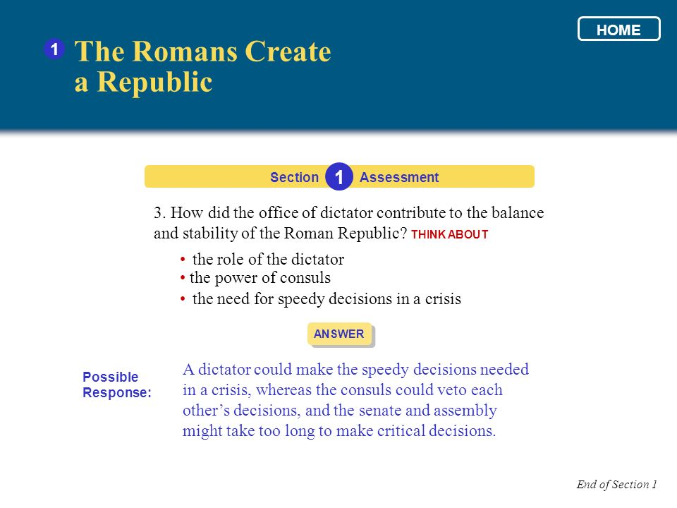 3. How did the office of dictator contribute to the balance and stability of the Roman Republic? THINK ABOUT Section The Romans Create a Republic 1 1