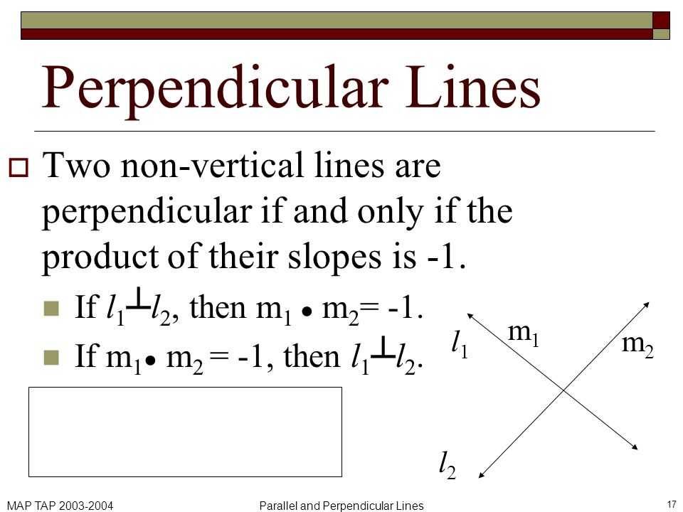 MAP TAP 2003-2004Parallel and Perpendicular Lines 17 Perpendicular Lines Two non-vertical lines are perpendicular if and only if the product of their