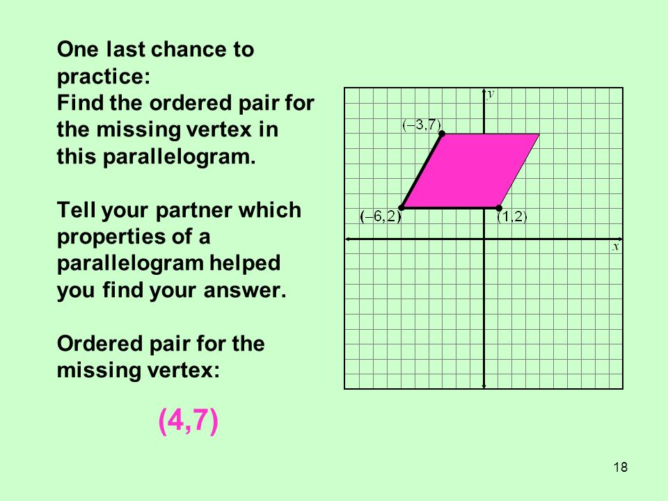 18 One last chance to practice: Find the ordered pair for the missing vertex in this parallelogram. Tell your partner which properties of a parallelog