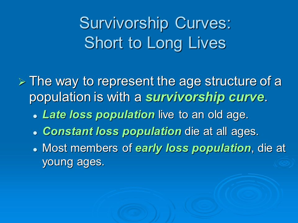 Survivorship Curves: Short to Long Lives The way to represent the age structure of a population is with a survivorship curve. The way to represent the