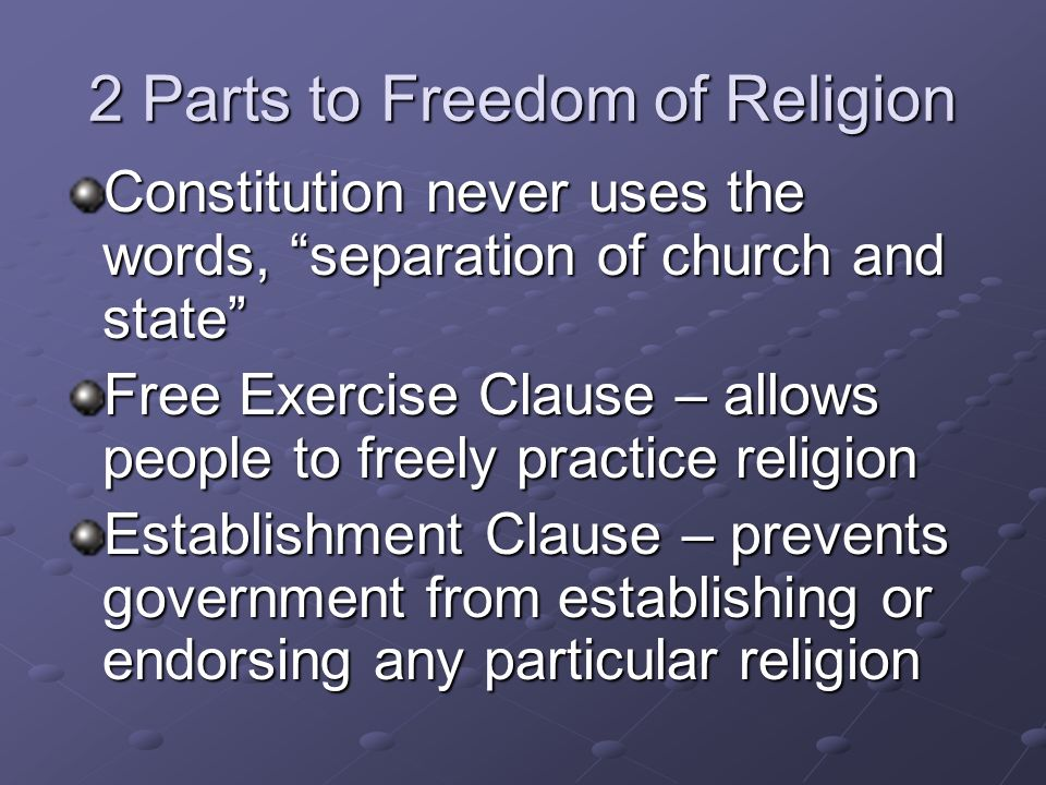 The 1 st Amendment Freedom of Religion Freedom of Speech Freedom of the Press Right to Assembly Right to Petition