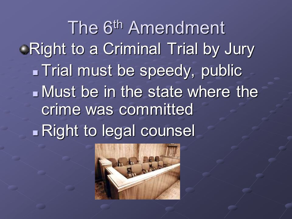 The 5 th Amendment No Double Jeopardy (Cant be charged with the same crime twice) Protection against self- incrimination Guarantee of Due Process of L