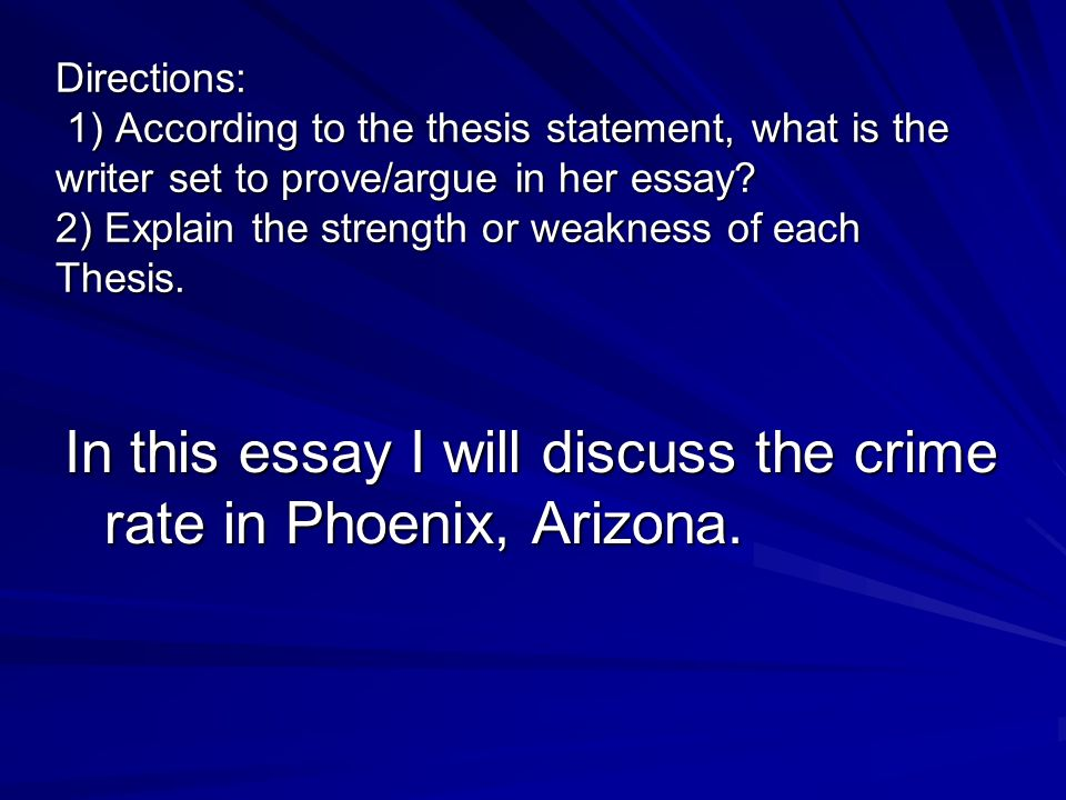 Directions: 1) According to the thesis statement, what is the writer set to prove/argue in her essay.