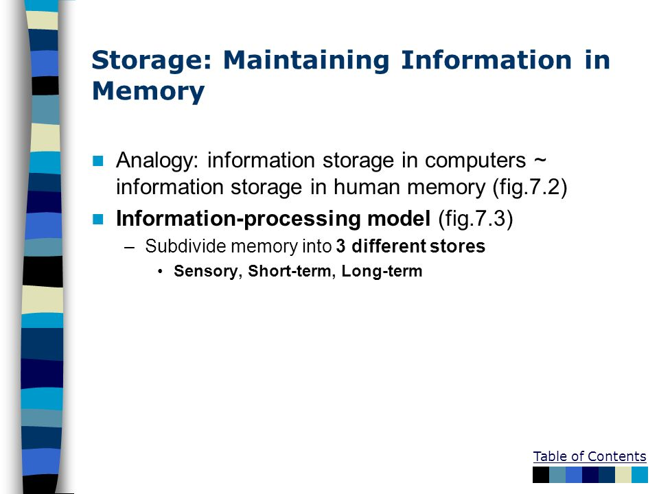 Table of Contents Storage: Maintaining Information in Memory Analogy: information storage in computers ~ information storage in human memory (fig.7.2)