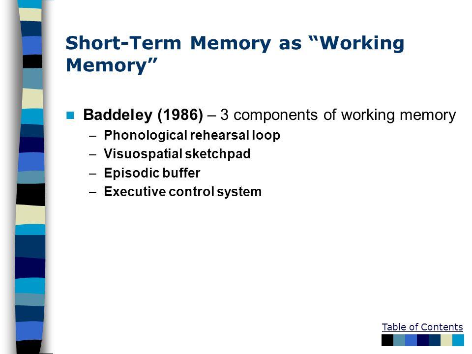 Short-Term Memory as Working Memory Baddeley (1986) – 3 components of working memory –Phonological rehearsal loop –Visuospatial sketchpad –Episodic bu