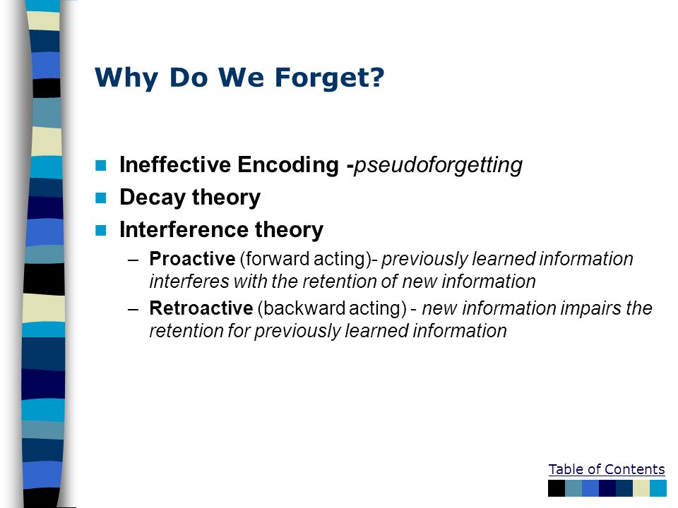 Why Do We Forget? Ineffective Encoding -pseudoforgetting Decay theory Interference theory –Proactive (forward acting)- previously learned information