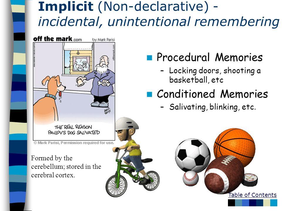 Table of Contents Implicit (Non-declarative) - incidental, unintentional remembering - Procedural Memories –Locking doors, shooting a basketball, etc