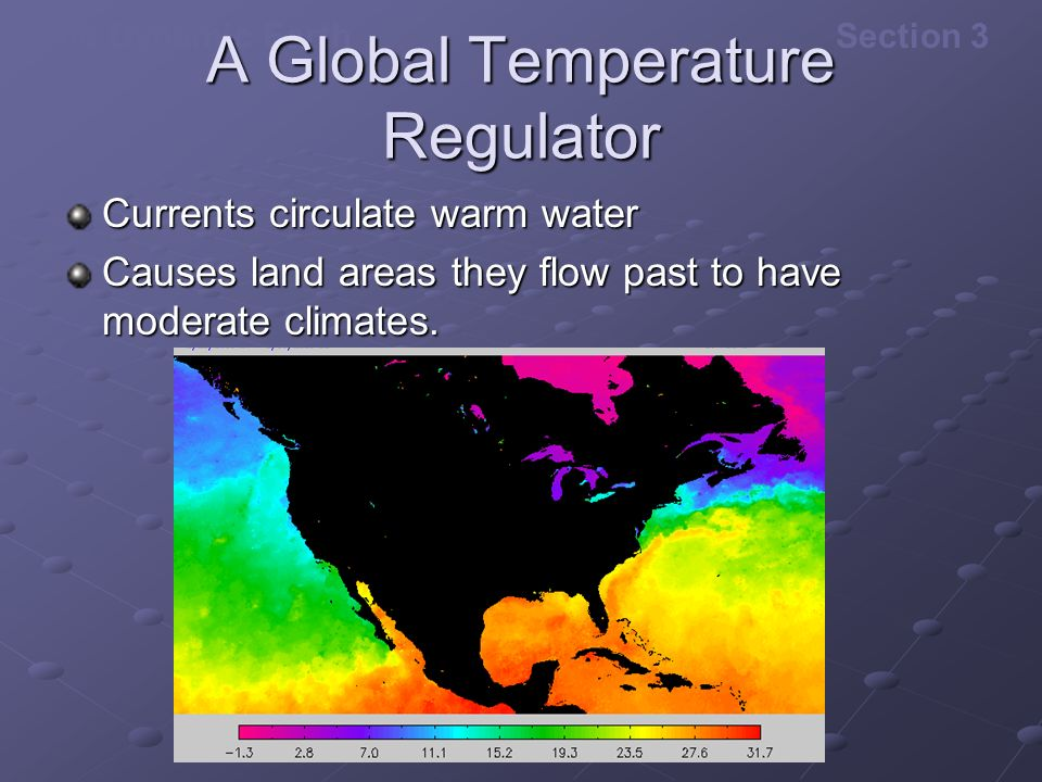 The Dynamic EarthSection 3 A Global Temperature Regulator Currents circulate warm water Causes land areas they flow past to have moderate climates.