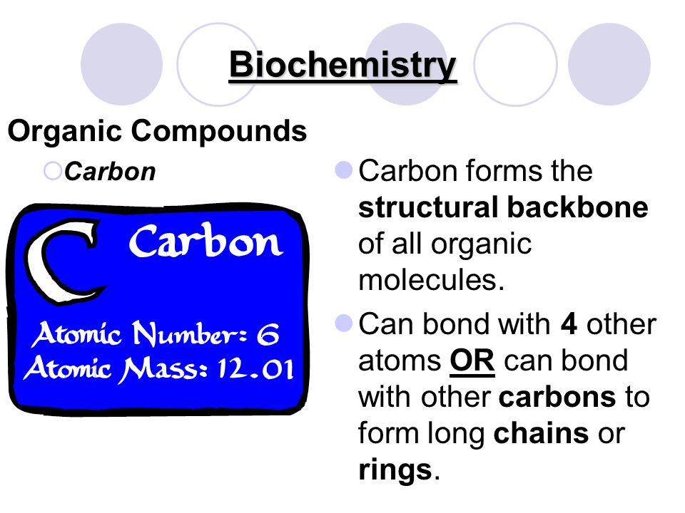 Biochemistry Inorganic Compound Water Most important inorganic compound for living organisms Excellent solvent Polar compound: opposite charges at each end of the molecule High heat capacity: can absorb and release a lot of heat/energy before changing temperatures