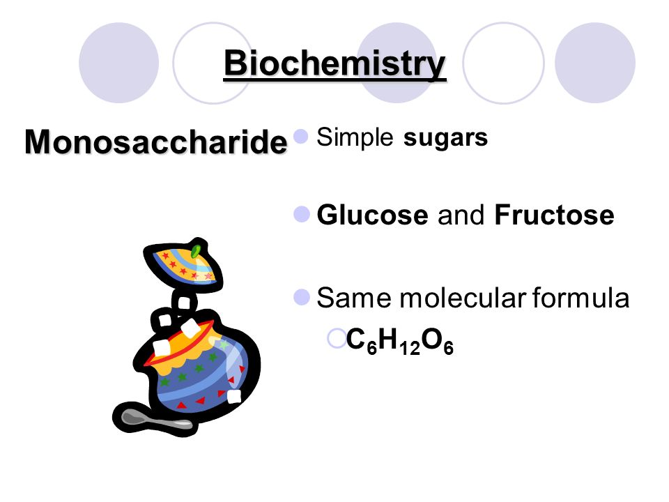 BiochemistryCarbohydrates Used for Basic Monomer Contain C, H 2, and O in the same ratio as in water Energy source (sugars and starches) Structural and cellular support Monosaccharide