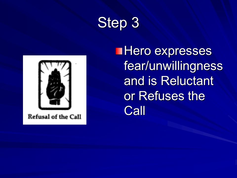 Hero expresses fear/unwillingness and is Reluctant or Refuses the Call Step 3