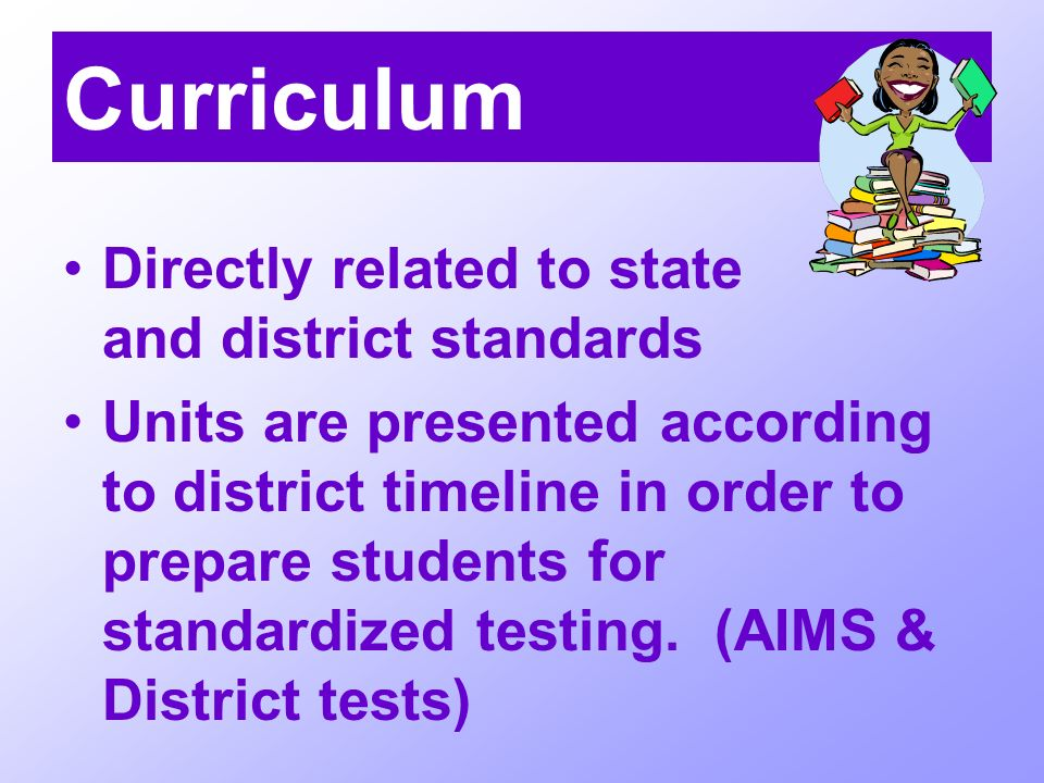 Curriculum Directly related to state and district standards Units are presented according to district timeline in order to prepare students for standardized testing.