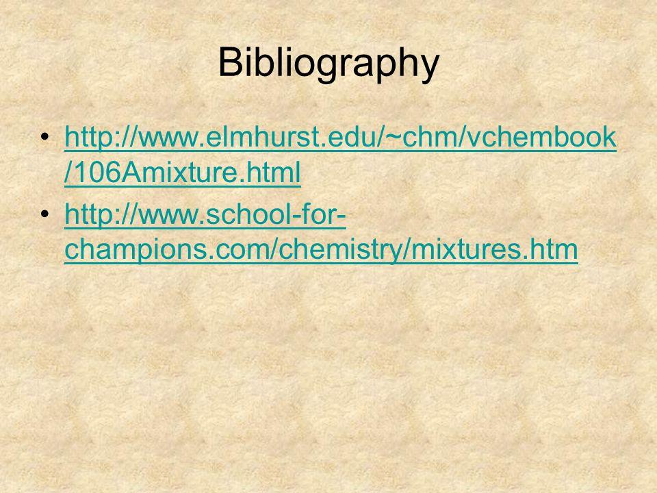 Bibliography http://www.elmhurst.edu/~chm/vchembook /106Amixture.htmlhttp://www.elmhurst.edu/~chm/vchembook /106Amixture.html http://www.school-for- champions.com/chemistry/mixtures.htmhttp://www.school-for- champions.com/chemistry/mixtures.htm