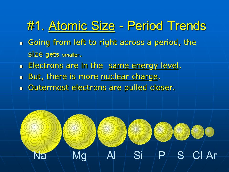 #1. Atomic Size - Period Trends Going from left to right across a period, the size gets smaller. Going from left to right across a period, the size ge