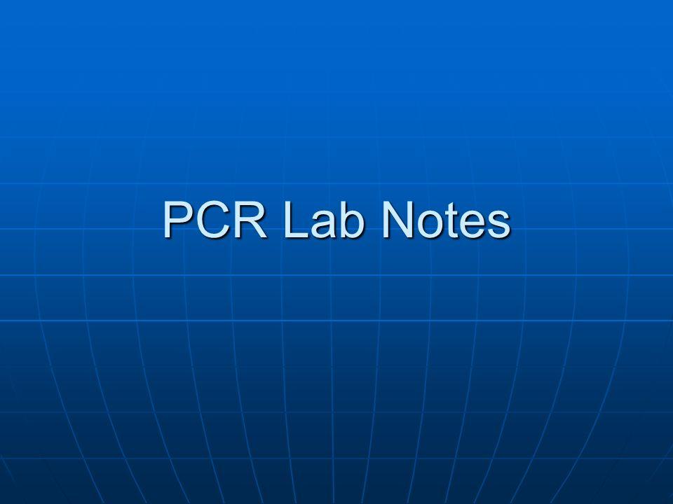 PCR Lab Notes