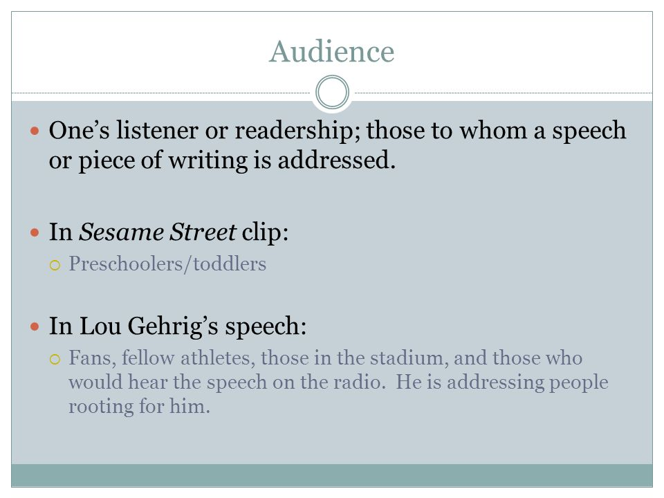 Audience Ones listener or readership; those to whom a speech or piece of writing is addressed.