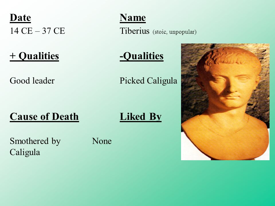 DateName 14 CE – 37 CETiberius (stoic, unpopular) + Qualities-Qualities Good leaderPicked Caligula Cause of DeathLiked By Smothered byNone Caligula